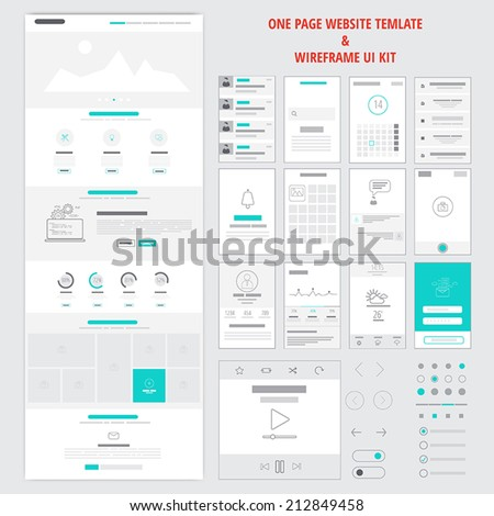 fllat responsive one page website template stock vector 212849458 shutterstock. Black Bedroom Furniture Sets. Home Design Ideas