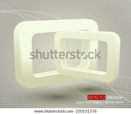 Floating glossy vector rectangles on light gray background. Vector illustration - stock vector