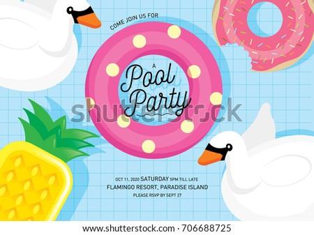 Floats summer pool party invitation card stock vector hd royalty floats summer pool party invitation card stock vector hd royalty free 706688725 shutterstock stopboris Gallery