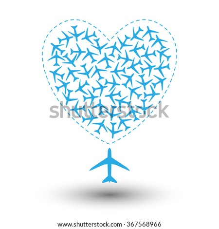 Flock of airplanes flying in a heart. Vector illustration - stock vector