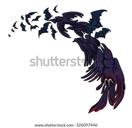 Flock of bats and crows isolated on white background. Vector illustration. Halloween celebration decoration, design element, symbol. Corvus. - stock vector