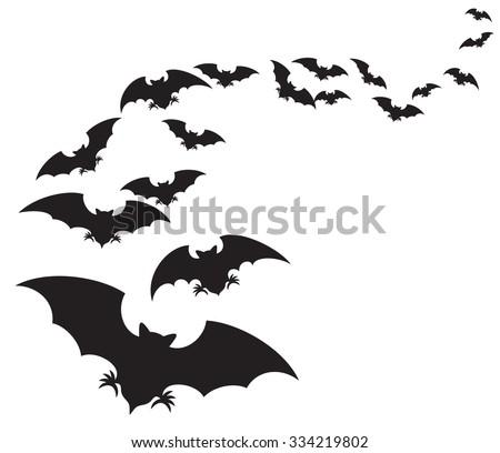 flock of bats (set of bats  flying)  - stock vector