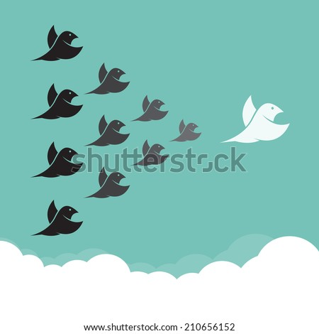 Flock of birds flying in the sky,  Leadership concept - stock vector