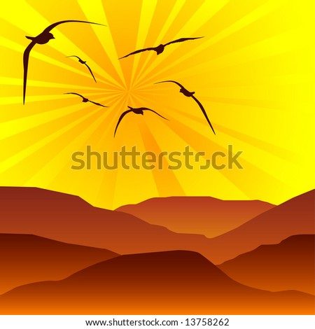 Flock of birds flying into the sun set above rolling hills - stock vector