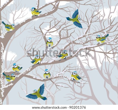 Flock of blue tits perching on branches of trees - stock vector