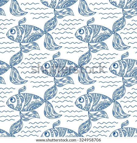 Flock of fish floating on the waves. Seamless floral pattern. Ornamental fish and waves, painted by hand. - stock vector