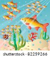 Flocks of fishes at the bottom. Vector illustration - stock photo