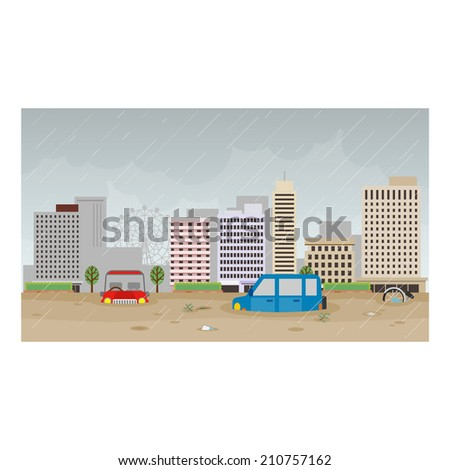 Flooding of the city - stock vector