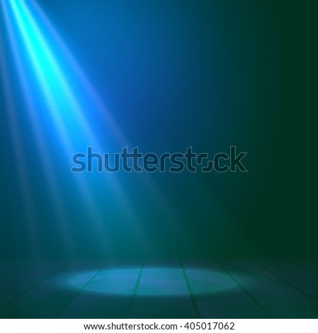 Floodlight spotlight illuminates wooden scene. Vector illustration. Light stage spot decoration. - stock vector