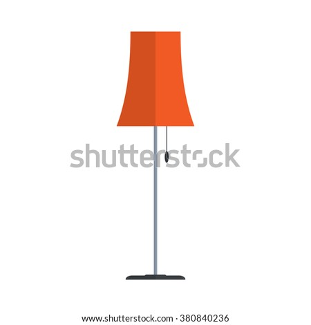 Floor lamp isolated on white background. Simple flat vector illustration, EPS 10.