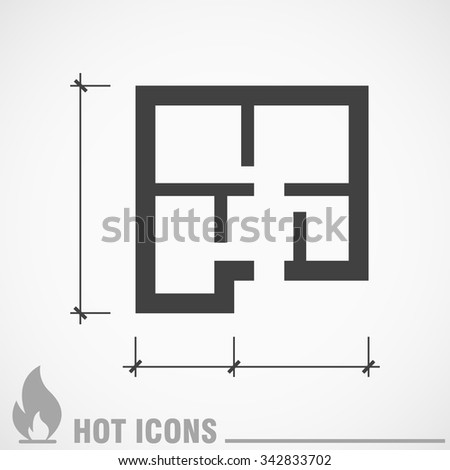 floor plan icon - stock vector