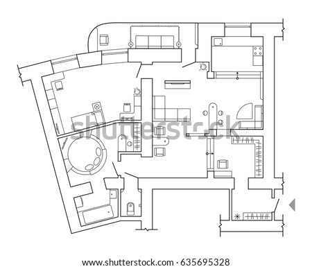 Floor plan top view plans standard stock vector 635695328 for Standard house plans