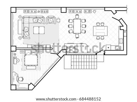 Black white floor plans modern apartment stock vector for Floor plan furniture store