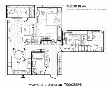 Floor plan furniture top view architectural stock vector 700638898 floor plan with furniture in top view architectural set of furniture thin line icons malvernweather Image collections