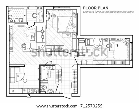 Floor plan furniture top view architectural stock vector 712570255 floor plan with furniture in top view architectural set of furniture thin line icons malvernweather
