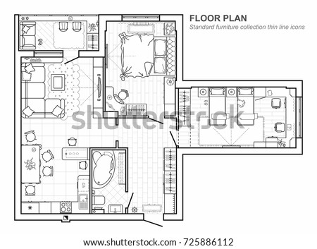 Floor plan furniture top view architectural stock vector 725886112 floor plan with furniture in top view architectural set of furniture thin line icons malvernweather Image collections