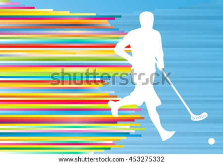 Floorball player man silhouette hockey with stick and ball illustration vector colorful concept with blue background and colorful stripes