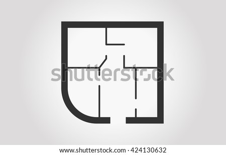 Floorplan Icon Black And White Floor Plan Of A Apartment Technical Vector Illustration