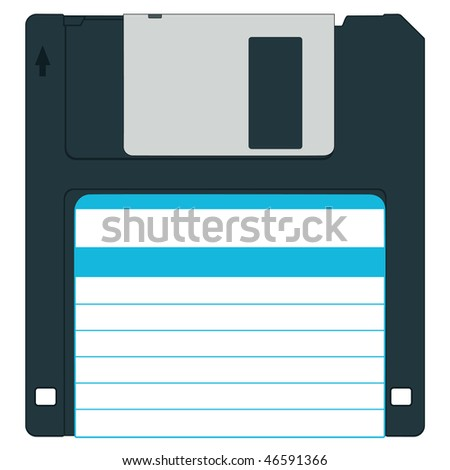 Floppy disk for various designs - without gradients - stock vector