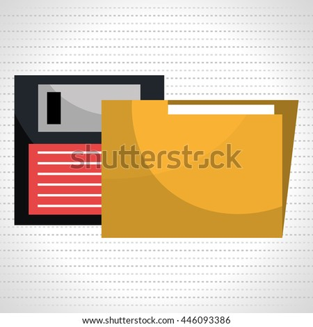 floppy disk with folder isolated icon design, vector illustration  graphic