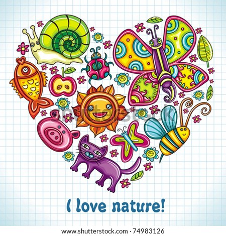 Flora and fauna theme heart. Cartoon set of colorful icons of animals, birds and plants. Doodle collection contains: leafs, , pigeon, bumblebee, , goldfish, ladybug, butterfly, kitten, apple - stock vector