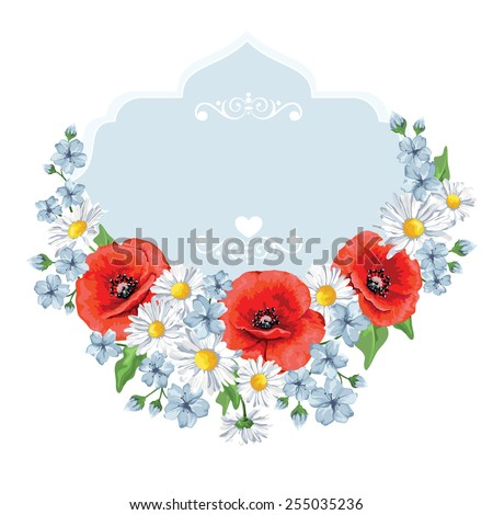 Flora background. Chamomile, poppy. Vector illustration. Card for Mother's Day.Summer background. - stock vector