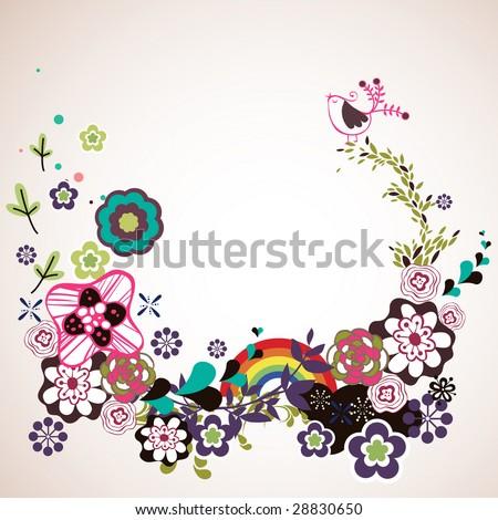 flora wallpaper design - stock vector