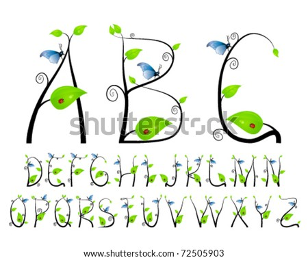 Floral ABC with butterfly and ladybug - stock vector
