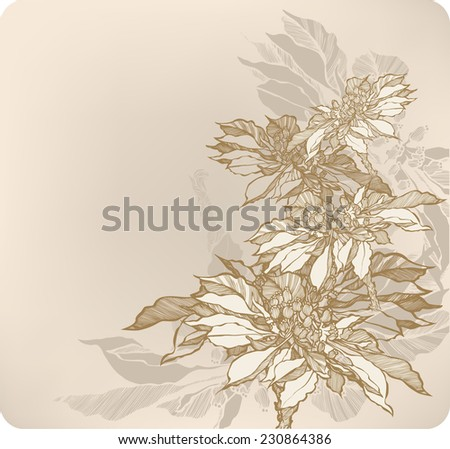 Floral abstract background with autumn flowers. Vector illustration. - stock vector