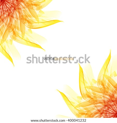 Floral abstract vector background. orange and red sunflower - stock vector