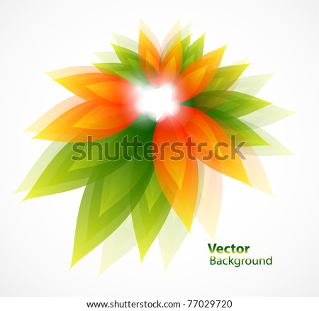 Floral abstract vector background with green and orange leaves - stock vector