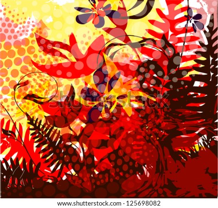 Floral abstraction at sunset. vector - stock vector