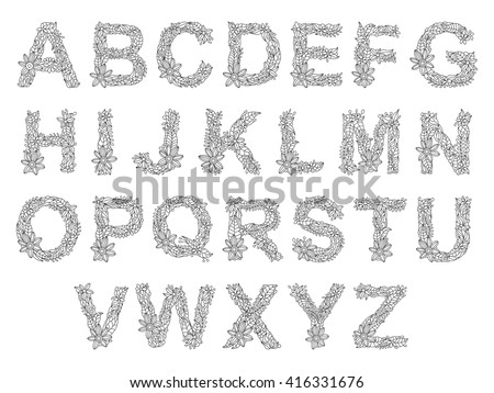Floral Letters Coloring : Alphabet with flower stock images royalty free & vectors