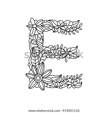 Floral Alphabet Letter Coloring Book Adults Stock Vector 434910205 ...