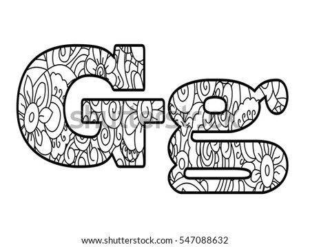 Floral Letters Coloring : Anti coloring book alphabet the letter p vector illustration