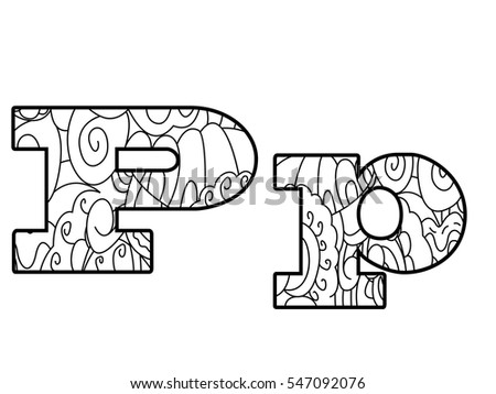Floral Letters Coloring : P vector flower font letter stock images royalty free