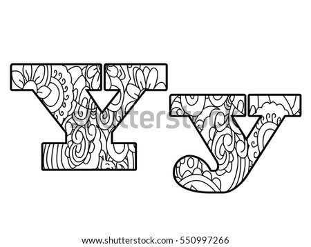 Floral Letters Coloring : Zentangle letters stock images royalty free & vectors