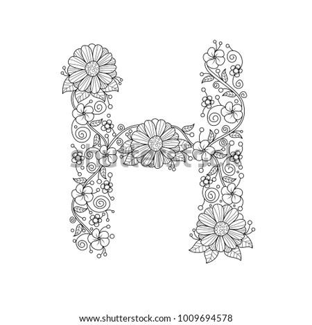 Floral Alphabet Letter H Coloring Book For Adults Vector IllustrationHand DrawnDoodle