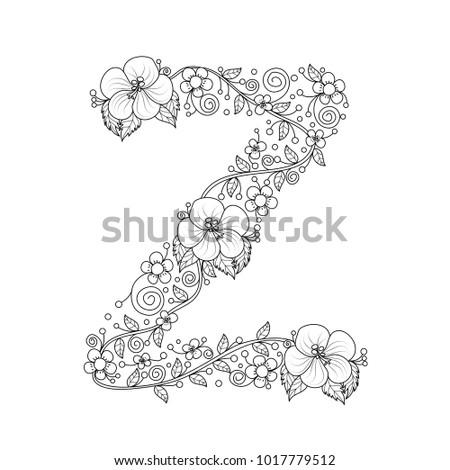 Floral Alphabet Letter Z Coloring Book For Adults Vector IllustrationHand DrawnDoodle