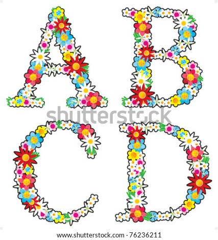 Floral alphabet vector set, letters A - D, isolated on white background ( for high res JPEG or TIFF see image 76236214 )