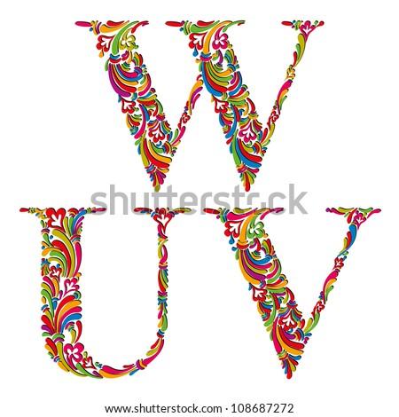 Floral alphabet, vintage letters u v w. - stock vector