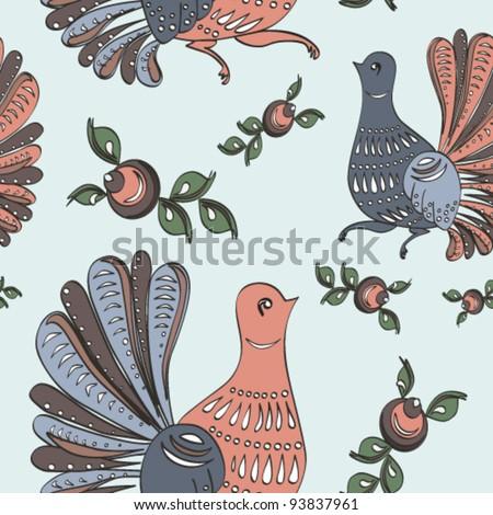 Floral and bird folk seamless pattern - stock vector