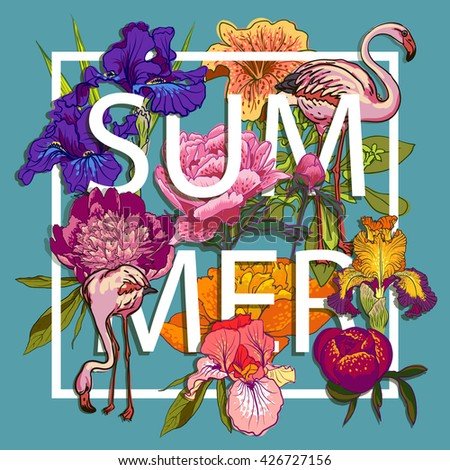 Floral and birds flamingos Summer Graphic Design - with Colorful Flowers - for t-shirt, fashion, prints - in vector - stock vector
