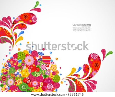 Floral and ornamental background card. - stock vector