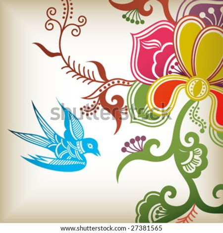 floral and swallow - stock vector