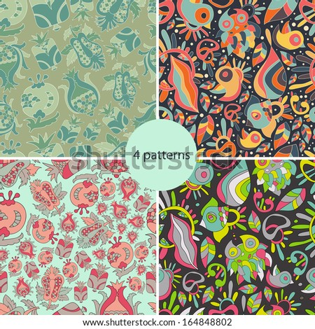 Floral animals  colorful set of four bright new  abstract seamless patterns with flowers,fish, birds. Pattern can be used for wallpaper pattern. Vector backgrounds with bright  shades.