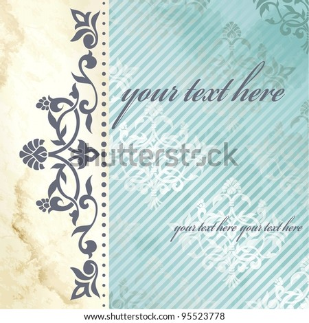Floral arabesque background in blue and gold (eps10); jpg version also available - stock vector