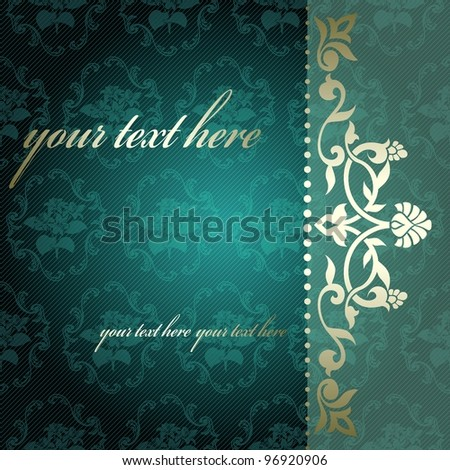 Floral arabesque background in green and gold (eps10); jpg version also available - stock vector