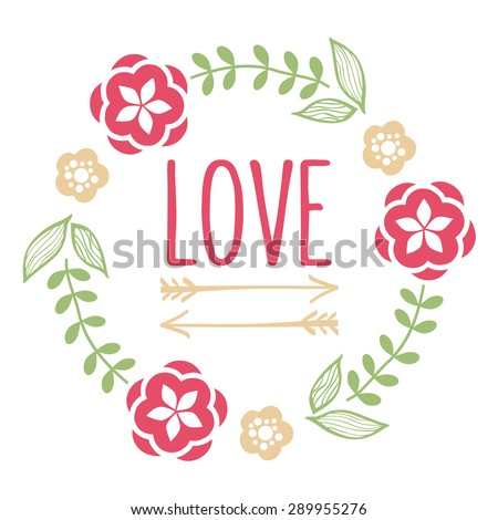 Floral artistic and hipster wreath. Suitable for wedding invitations and various greeting cards. - stock vector