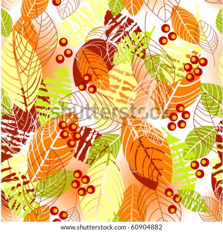 Floral autumn seamless pattern - stock vector